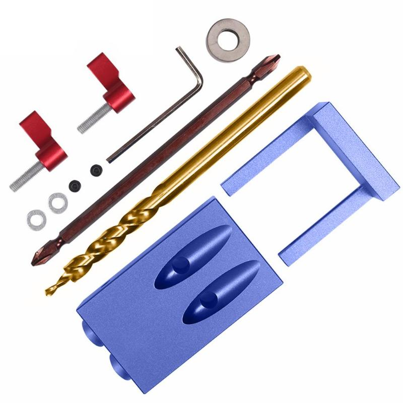 Pocket Hole Jig Kit System For Wood Working Joinery Tool Set w/ Step Drill Bit & Accessories Mini Wood Work Tool Set woodworking tool pocket hole jig woodwork guide repair carpenter kit system with toggle clamp and step drilling bit cp527