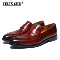 FELIX CHU 2018 Spring Autumn Men Genuine Leather Dress Shoes Hand Painted Red Wedding Party Banquet Male Slip On Footwear