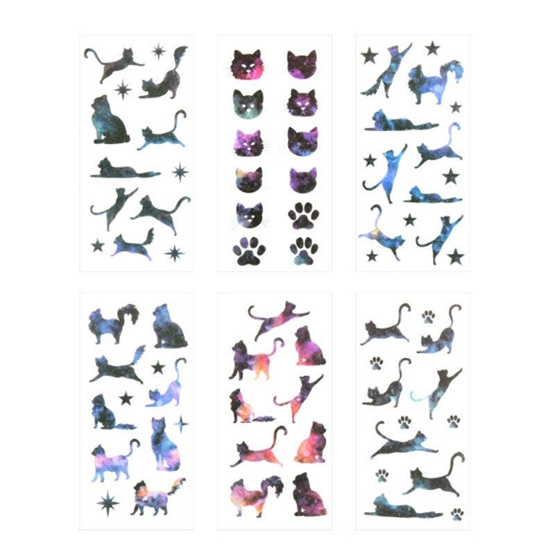 Купить с кэшбэком 6pcs/lot Kawaii Star cat Diary Stickers DIY Scrapbooking Mini Stationery Sticker child toy Office School Supplies