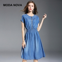 MODA NOVA дизайнер бутик Туника Платье из джинсовой ткани элегантный синий Жан Повседневное миди платье 2018 летние платья Befree