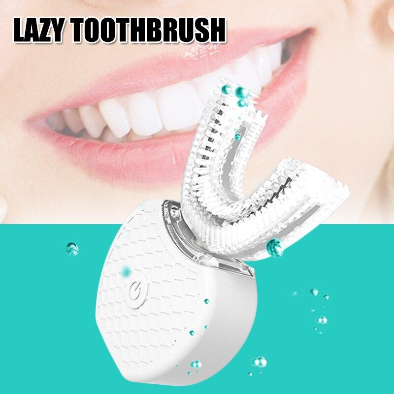 Livraison directe 360 degrés U forme brosse à dents électrique à ultrasons blanchiment des dents Massage propre USB SMJ