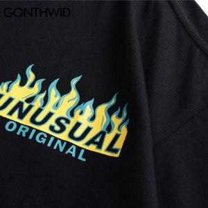 Image 4 - GONTHWID Hip Hop Fire Flame Gedrukt T shirts Streetwear 2019 Zomer Mannen Toevallige Korte Mouwen T shirts Mannelijke Mode Katoenen Top tees