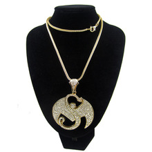 FREE SHIPPING Strange Music Bling Pendant Necklace WITH FULLY RHINESTONES High Quality ICED OUT Fans jewelry Hiphop men necklace