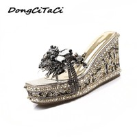 DongCiTaCi Women Wedge Sandals Clear Platforms Shoes Woman Rivets rinestones Muffin Bottom Square Toe Summer Slingback Sandals