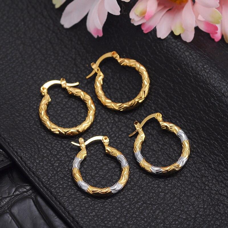 2pairs earrings girls dubai gold turkish egyptian algeria indian moroccan saudi gold earrings kids earrings fashion jewelry in clip earrings from jewelry