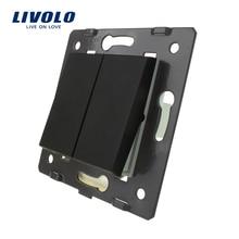 Livolo Black  Plastic Materials, EU  Standard,2 Gang1 Way Function Key For Wall Push Button Switch C7-K2-12