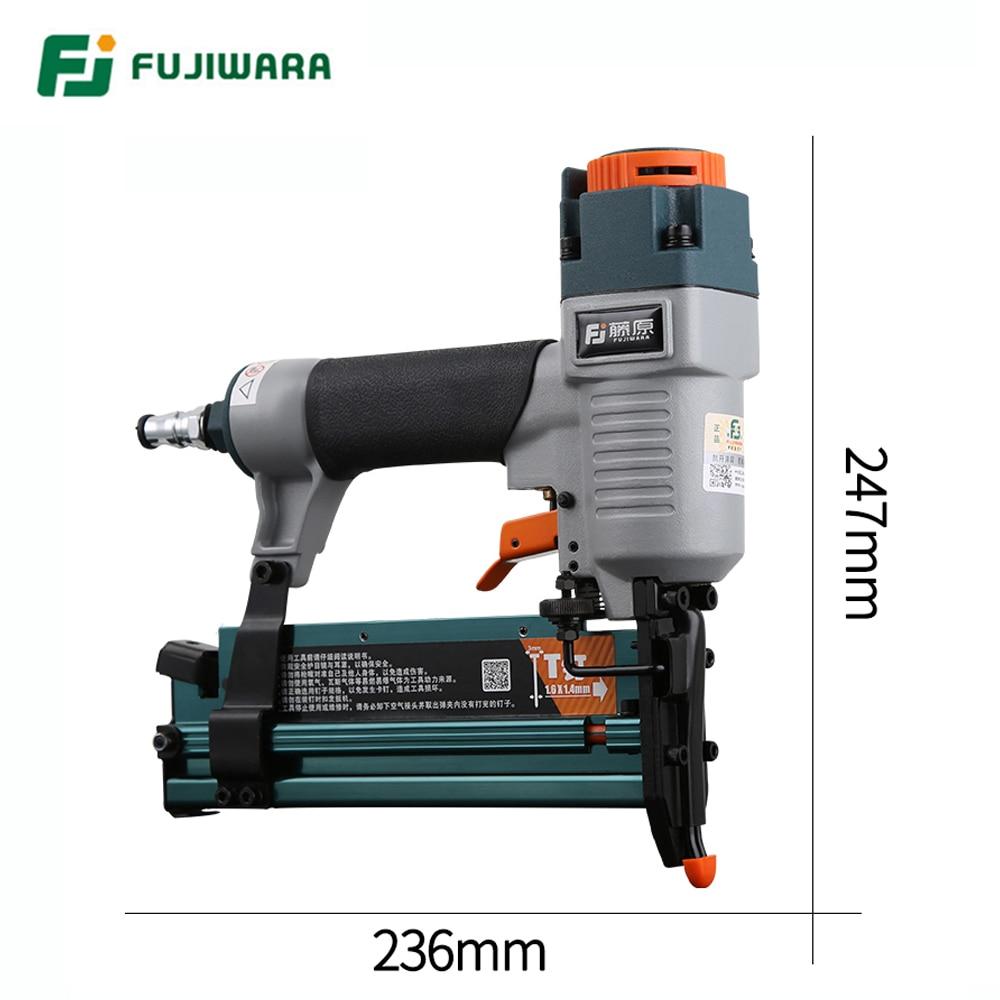 Tools : FUJIWARA 3-in-1 Carpenter Pneumatic Nail Gun 18Ga 20Ga Woodworking Air Stapler F10-F50 T20-T50 440K Nails Carpentry Decoration