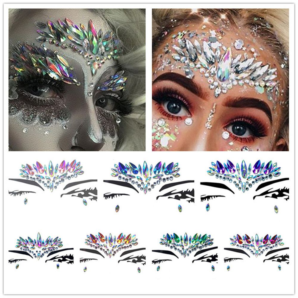 New Temporary Rhinestone Glitter Tattoo Stickers Face Jewels Gems Festival Party Makeup Body Jewels Flash Fake Temporary Tattoos
