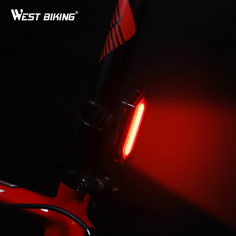 WEST BIKING Waterproof Bike Tail Light USB Charging Bike Rear Light Warning Safety Flashlight Running Light Bicycle Taillights