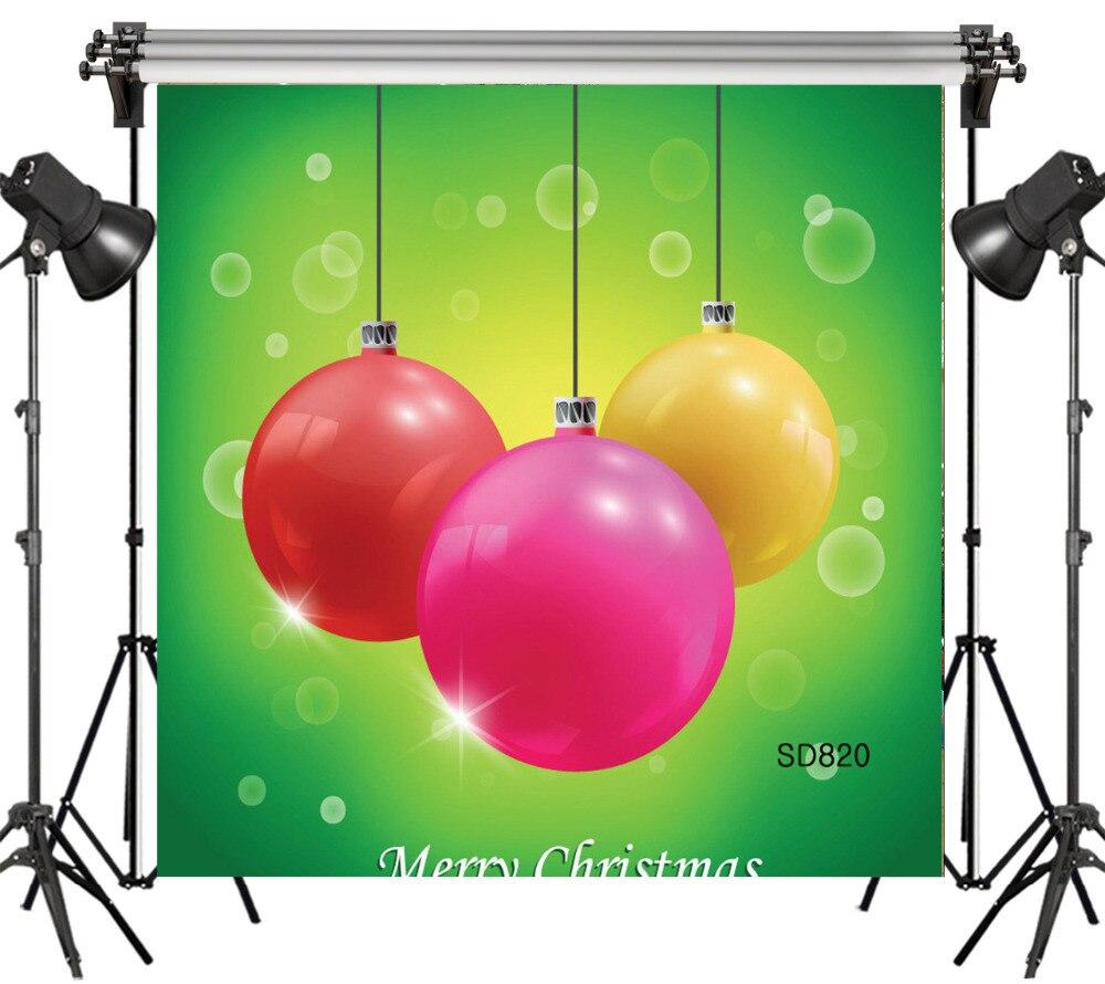 6x6FT noël coloré boule décorative vert Bokeh sans couture lavable sans plis Polyester toile de fond fond photographie Studio