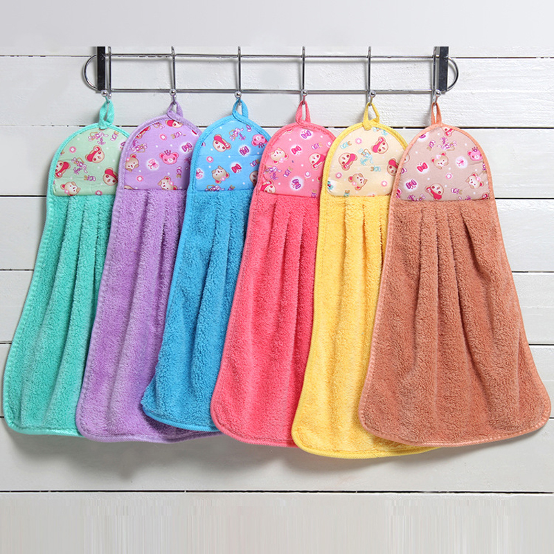 Coral velvet cartoon hanging kitchen towel super absorbent towel towel is soft and comfortable cleaning factory wholesale