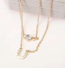 Hot style simple letter U flash crystal double necklace horseshoe multi-layer collarbone chain wholesale