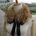 ZDFURS * mapache verdadero cuello de piel silenciador bufanda de piel de invierno cuello de piel de mapache de lana abrigo ZDC-163012