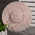 Korean Style Sweet Lace Wedding Hats For Brides Linen Bridal Hat Champagne Chapeaux De Mariage Pour Les Femmes SQN011