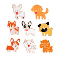Broche de dibujos animados de 8 estilos para niños, Pin esmaltado, para perro, cachorro, alfileres, botón, suéter, abrigo, accesorios de joyería