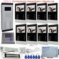 8 unidad apartamento timbre Video intercomunicador apartamento sistema de entrada de intercomunicación 4 3