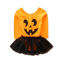 Halloween New Fashion Smiling Face Of Pumpkin Baby Girls Mesh Clothes Summer Infant Romper недорого