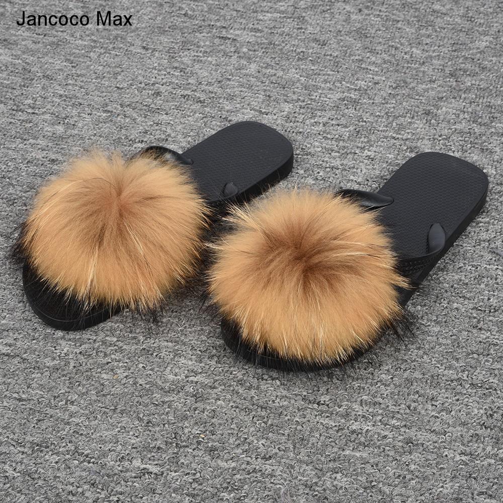 Women Genuine Fur Slipper Real Raccoon Fur Flip Flops -4771