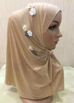 H1249 muslim one piece hijab scarf with stones and flowers instant pull on scarf fast delivery