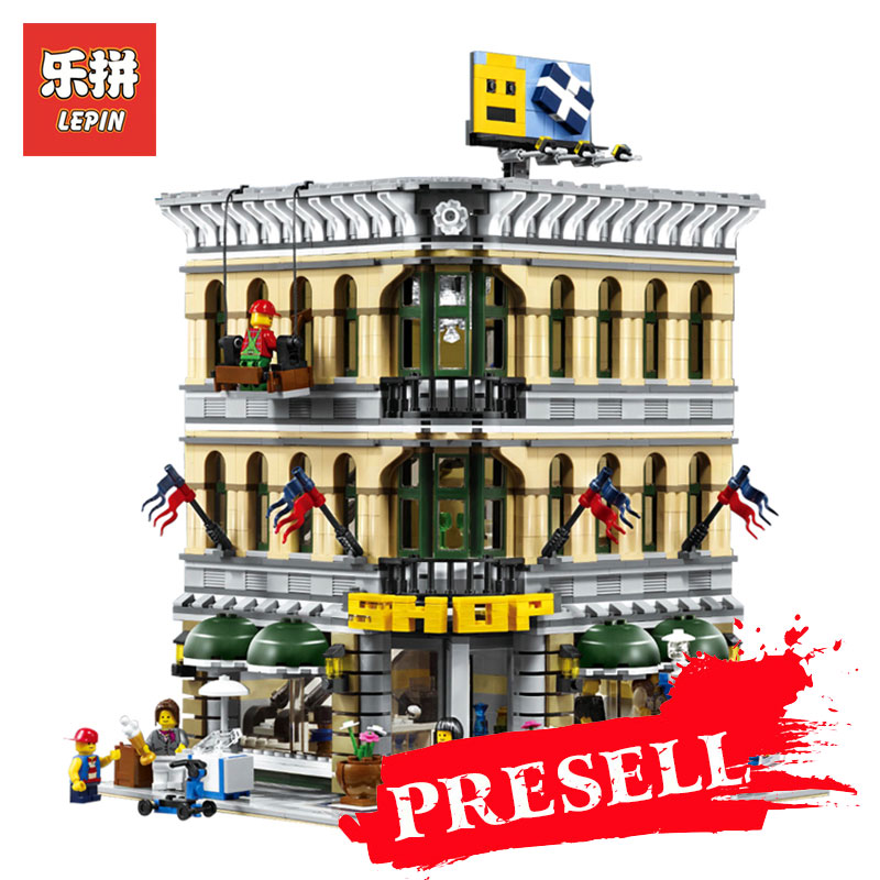 LEPIN 15005 2232Pcs City Creator Grand Emporium Model Building Kits Blocks Bricks action Brick for Children Toy LegoINGlys 10211 lepin 15018 3196pcs creator city series sunshine hotel model building kits brick toy compatible christmas gifts