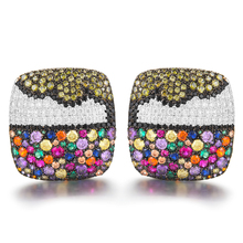 SISCATHY Trendy Big Stud Earring For Women Charms Dubai Full CZ Cubic Zirconia Earrings Ear Accessories pendientes mujer moda