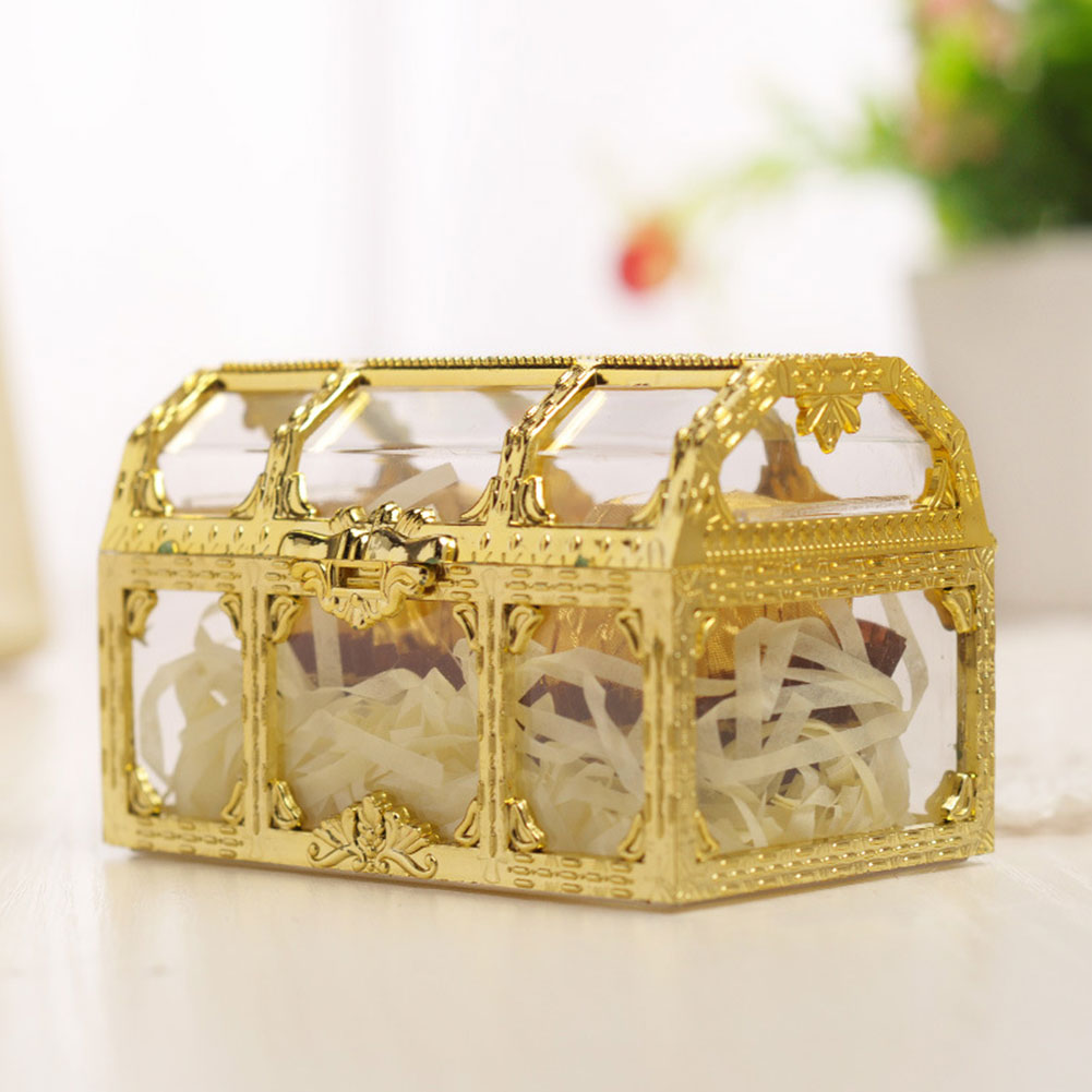 Makeup Trinket Crystal Collectibles Case Jewelry Box Candy Transparent Organizer Treasure Storage Home Desktop Pirate Chest Mini