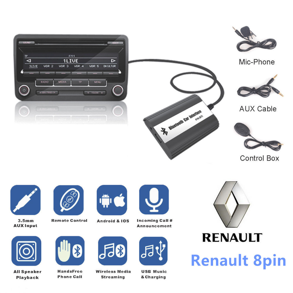 DOXINGYE,USB AUX Bluetooth Car Digital Music Cd Changer Adapter Car MP3 Player For Renault 8pin Clio Master Modus Dayton-in Car MP3 Players from Automobiles & Motorcycles    1