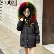 Children Winter Down Jacket 2017 Fashion Boys Girls Fur Collar Hooded Feather Coats Clothing Teenage Thick Warm Long Down Jacket