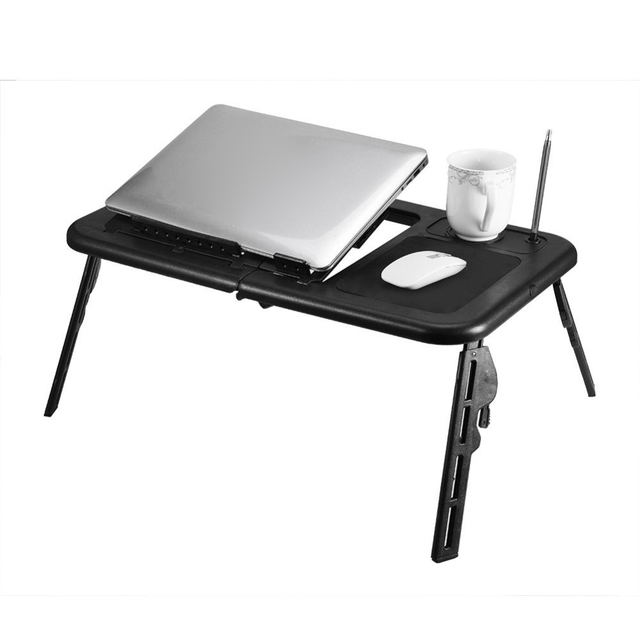Computer Desk Portable Adjule Foldable Laptop Notebook Lap Pc Folding Table Vented Stand Bed Office