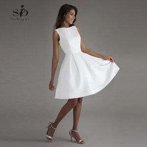Image 1 - קצר חתונה שמלת 2020 חוף לבן כלה שמלות ללא משענת vestido דה noiva תמונה אמיתית חתונה מסיבת שמלה