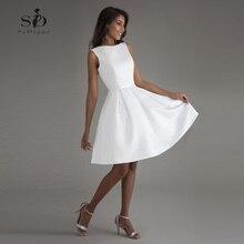 Robe de mariée courte avec dos nu, robe de mariée de plage blanche, robe de mariée avec Photo réelle, modèle 2020
