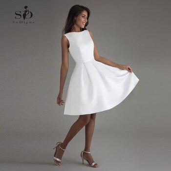 Short Wedding Dress 2020 Beach White Bridal Dresses Backless vestido de noiva Real Photo Party Gown - discount item  57% OFF Wedding Dresses
