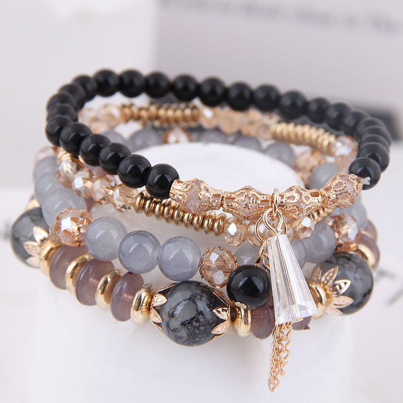 DIEZI Korean Fashion Ethnic Crystal Beads Bracelets for Women Girls Gift Elastic Rope Tassel Wrap Bracelet pulseira feminina