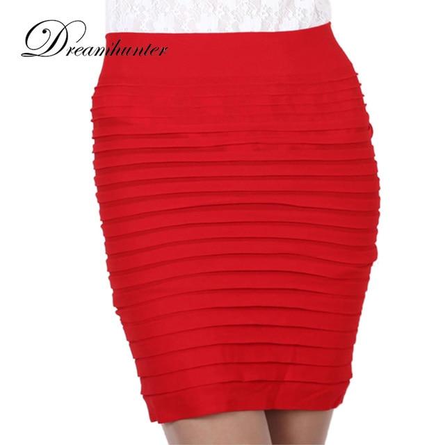 15 Colors Mini Bandage Skirts Elastic Slim Bodycon Skirts High Waist  Pleated Hip Short Pencil Skirt Jupe Women Lady Saia