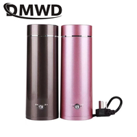 DMWD Portable Mini Electric Kettle Water Thermal Heating Boiler Travel Stainless Steel Tea Pot Coffee Milk Boiling Cup 110V 220V