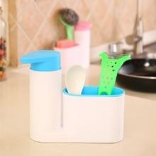2 in 1 High-quality Multifunctional PP Kitchen Storage Rack Hand Sanitizer Squeeze Washing Brush Sink Dispenser Gadget