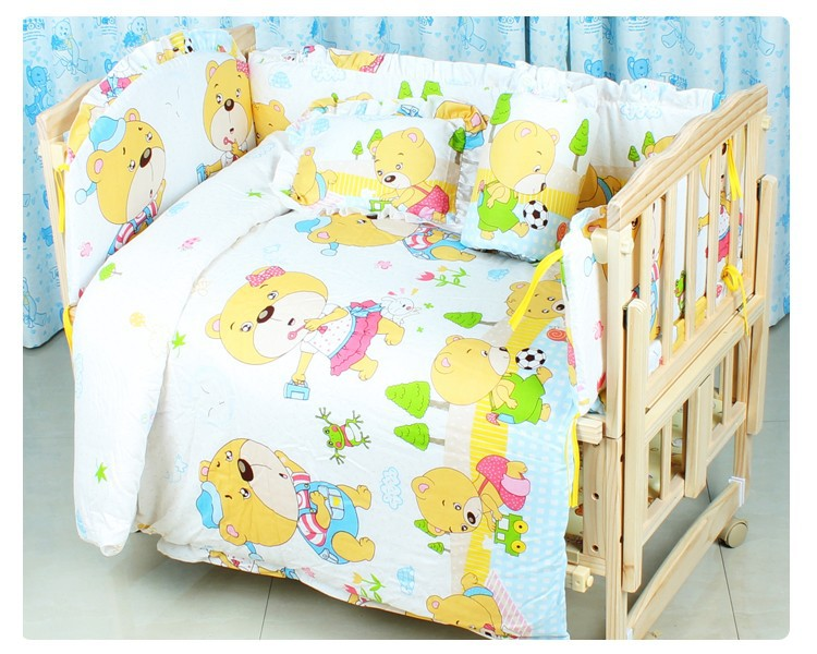 Фото Promotion! 7pcs Cotton Baby Cartoon Bedding Sets+sheet baby cot bedding set (bumper+duvet+matress+pillow). Купить в РФ