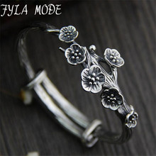 Fyla Mode Bracelet Sterling Silver S925 Silver Style Plum Flower Classic Female Simple Style Adjustble Size 22mm 39.80G TYC097