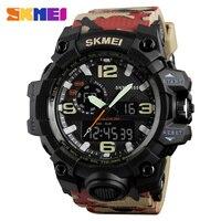 SKMEIพรางทหารนาฬิกาผู้ชายกันน้ำกีฬานาฬิกาคู่เวลาดิจิตอลอนาล็อกควอตซ์ผู้ชายนาฬิกาแบรนด์หรู...