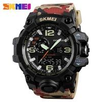 SKMEI Camouflage Military Watch Men Waterproof Sports Watches Dual Time Digital Analog Quartz Men Watches Luxury