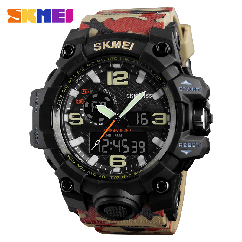 SKMEI Camouflage Military Watch Men Waterproof Sports Watches Dual Time Digital Analog Quartz Men Watches Luxury Brand Clock Man skmei men quartz digital dual display sports watches new clock men outdoor military watch fashion student waterproof wristwatch