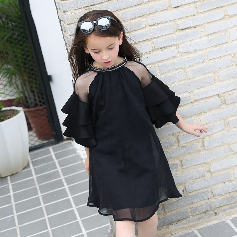 2018 Summer Girls Teens Party Dress Petal Sleeve O-Neck Children Kids Dress for Girl 12 Years Old Lace Net Yarn Princess Dresses 2018 summer new girls clothing lace mesh splicing baby dresses for girl party princess dress fashion petal kids girls dresses