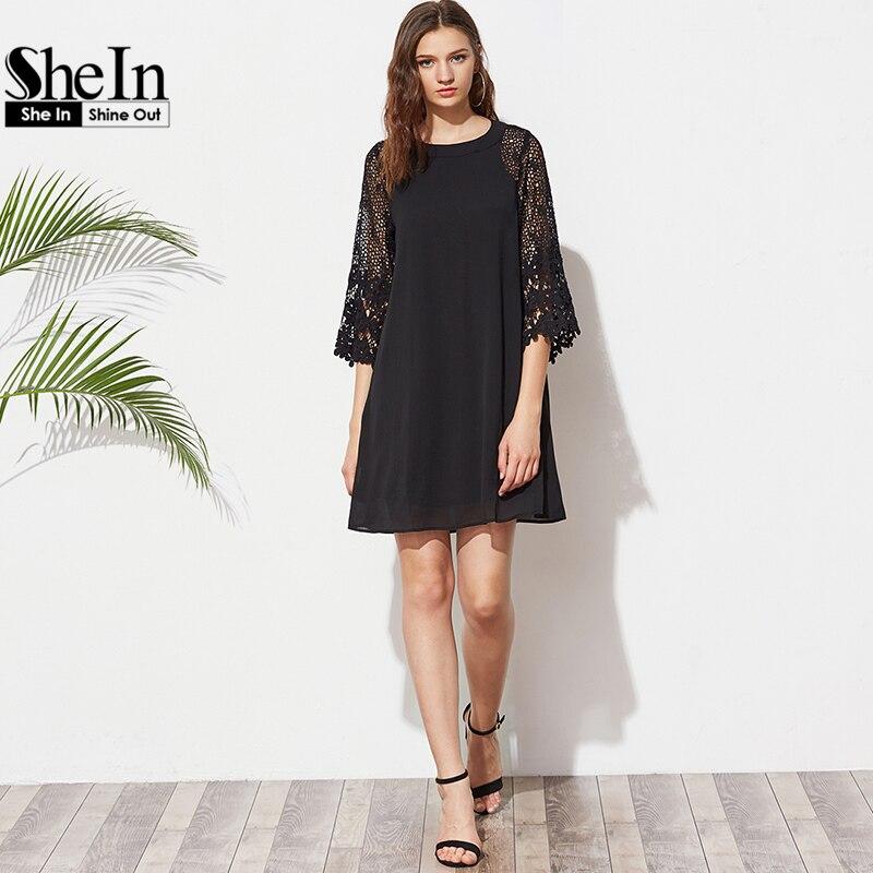Shein verano de las mujeres shift vestidos damas negro hollow out crochet three