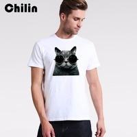 Chilin ماركة 2017 صيف جديد تي شيرت الرجال قصيرة الأكمام القطن قميص رجل أسود القط مع النظارات شيرت المحملات الأعلى الشحن المجاني