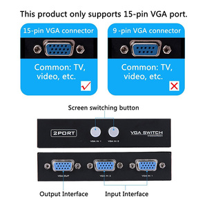 Image 5 - Sıcak satış 15HDF 2 Port 2 IN 1 OUT Switcher seçici kutusu iki yönlü VGA Video anahtarı PC için dizüstü bilgisayar masaüstü monitör TV