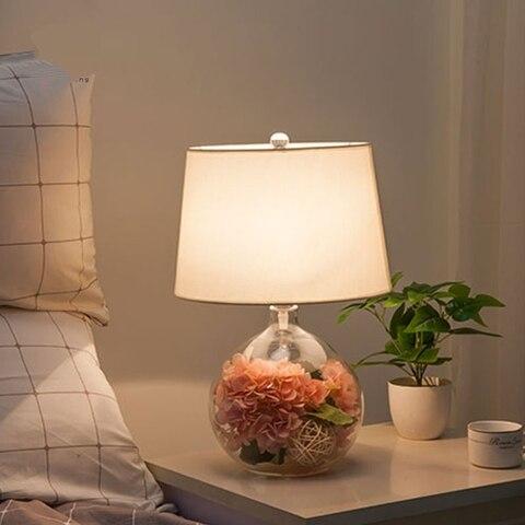 nordico moderno candeeiro de mesa de vidro flores decorar cabeceira lampada de mesa noite jardim