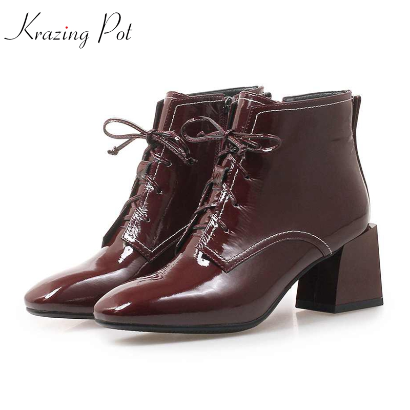 Krazing Pot 2019 full grain leather square toe thick high heel movie star keep warm lace up office lady handmade ankle boots L52Krazing Pot 2019 full grain leather square toe thick high heel movie star keep warm lace up office lady handmade ankle boots L52