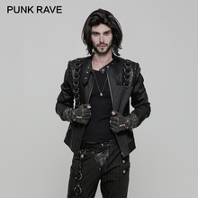 PUNK RAVE Men Punk Rock Stand-up Collar Jacket Coat Fashion Gothic Style Leather Metal Zipper Motocycle Coats Short