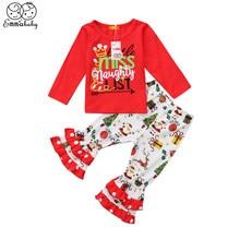 a89ed3ee9 New lovely babies kid outfits Christmas Kids Baby Girl Xmas Santa Long  Sleeve Top ruffles print