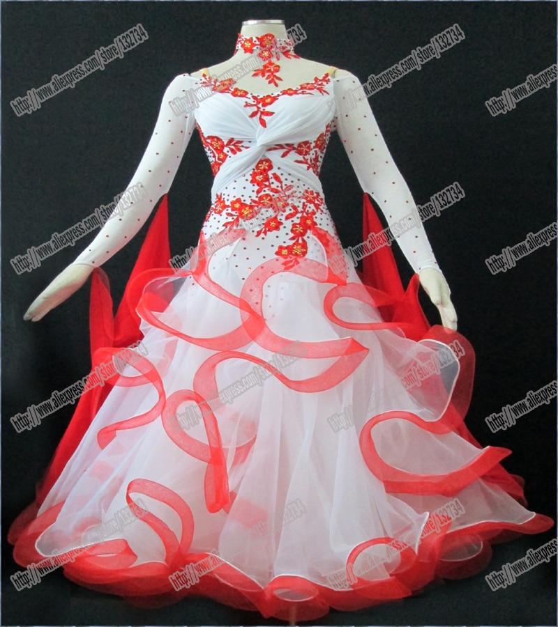 Modern Waltz Tango Ballroom Dance Dress, Smooth Ballroom Dress,Standard Ballroom Dress Girls with peacock feather B-0021